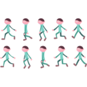 download Walk Cycle Boy clipart image with 315 hue color