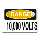download Danger 10 000 Volts clipart image with 45 hue color