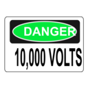 download Danger 10 000 Volts clipart image with 135 hue color