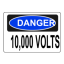 download Danger 10 000 Volts clipart image with 225 hue color