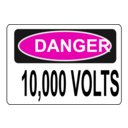download Danger 10 000 Volts clipart image with 315 hue color
