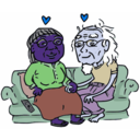 download Growing Old Together clipart image with 225 hue color