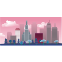download City Skyline clipart image with 135 hue color
