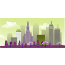 download City Skyline clipart image with 225 hue color