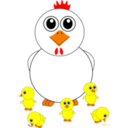 Funny Chicken And Chicks Cartoon