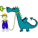 download Dragon On A Leash clipart image with 45 hue color