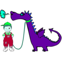 download Dragon On A Leash clipart image with 135 hue color