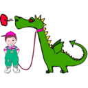 download Dragon On A Leash clipart image with 315 hue color