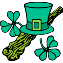 download Hat And Shillelagh Colour clipart image with 45 hue color