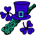 download Hat And Shillelagh Colour clipart image with 135 hue color