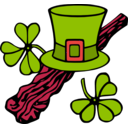 download Hat And Shillelagh Colour clipart image with 315 hue color