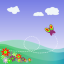 download Cartoon Hillside With Butterfly And Flowers clipart image with 45 hue color