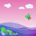 download Cartoon Hillside With Butterfly And Flowers clipart image with 135 hue color