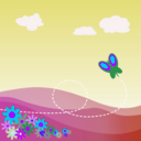 download Cartoon Hillside With Butterfly And Flowers clipart image with 225 hue color