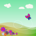 download Cartoon Hillside With Butterfly And Flowers clipart image with 315 hue color