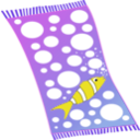 download Towel Blue With White Bubbles And Red Fish With White Strips clipart image with 45 hue color
