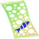 download Towel Blue With White Bubbles And Red Fish With White Strips clipart image with 225 hue color