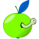 download Red Apple With A Worm clipart image with 90 hue color