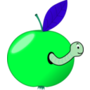 download Red Apple With A Worm clipart image with 135 hue color