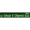 Portland Oregon Street Name Sign Se Cesar Chavez 39th Street