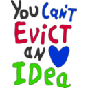 download You Can Not Evict An Idea clipart image with 225 hue color