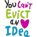 download You Can Not Evict An Idea clipart image with 315 hue color