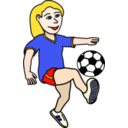 Soccer Playing Girl Coloured