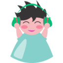 download Boy With Headphone5 clipart image with 315 hue color