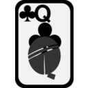 download Queen Of Clubs clipart image with 315 hue color