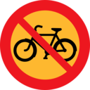 No Bicycles Roadsign