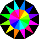 download Rainbow Dodecagram clipart image with 180 hue color