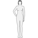 download Female Body Silhouette Front clipart image with 135 hue color