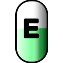 download White Red E Pill clipart image with 135 hue color