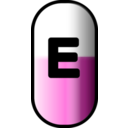 download White Red E Pill clipart image with 315 hue color