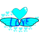 download Love Wing clipart image with 180 hue color