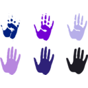 download Hand Prints clipart image with 225 hue color