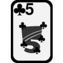 download Five Of Clubs clipart image with 315 hue color