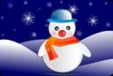 Snowman Glossy In Winter Scenery