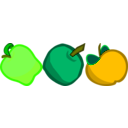 download Three Cartoony Apples clipart image with 45 hue color