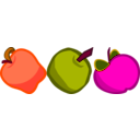 download Three Cartoony Apples clipart image with 315 hue color