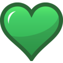 download Green Heart Icon clipart image with 45 hue color