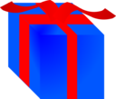 Blue Gift Box Wrapped With Red Ribbon