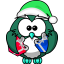 download Santa Owl clipart image with 135 hue color