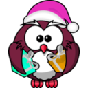 download Santa Owl clipart image with 315 hue color