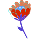 download Blue Flower Vector clipart image with 180 hue color