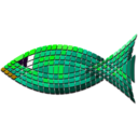 download Tiled Green Fish clipart image with 45 hue color