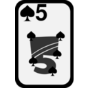 download Five Of Spades clipart image with 225 hue color