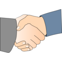Handshake With Black Outline White Man Hands
