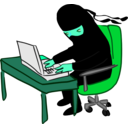 download Ninja Working At Desk clipart image with 135 hue color