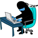 download Ninja Working At Desk clipart image with 180 hue color